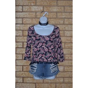 Paisley and Floral Print Ball Trim Crop Top